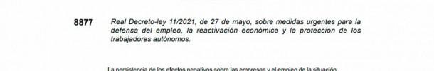 LA PRÓRROGA DE LOS ERTES Y LAS DEMÁS MEDIDAS ESTABLECIDAS EN EL NUEVO REAL DECRETO-LEY 11/2021